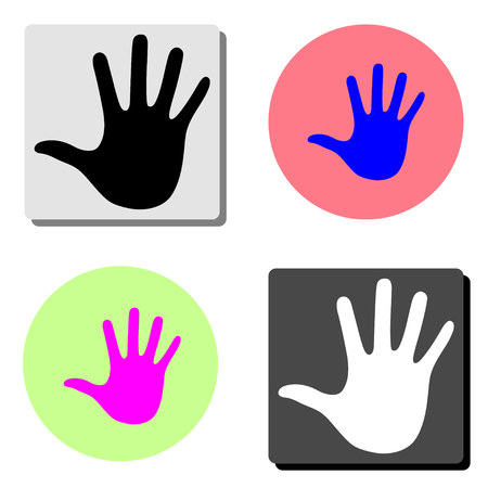 hand. simple flat vector icon illustration on four different color backgrounds