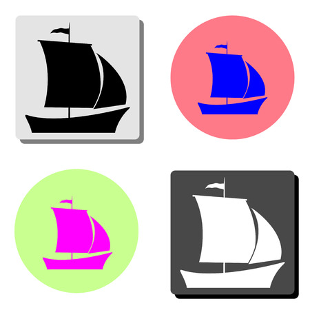 Ship. simple flat vector icon illustration on four different color backgrounds