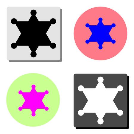 sheriff star. simple flat vector icon illustration on four different color backgrounds Illusztráció