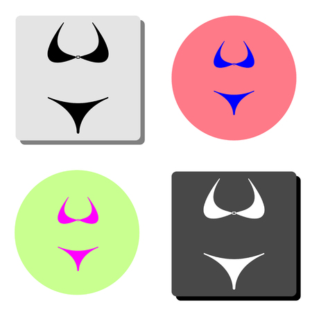 lingerie or swimsuit, bikini. simple flat vector icon illustration on four different color backgrounds