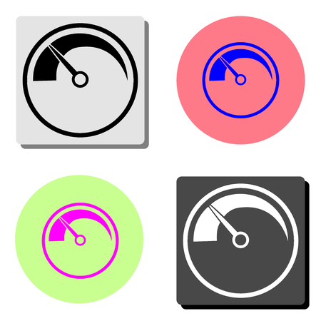 Speedometer. simple flat vector icon illustration on four different color backgrounds