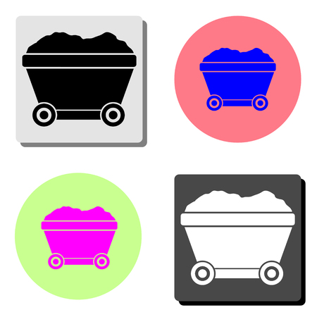 Mining cart. simple flat vector icon illustration on four different color backgrounds