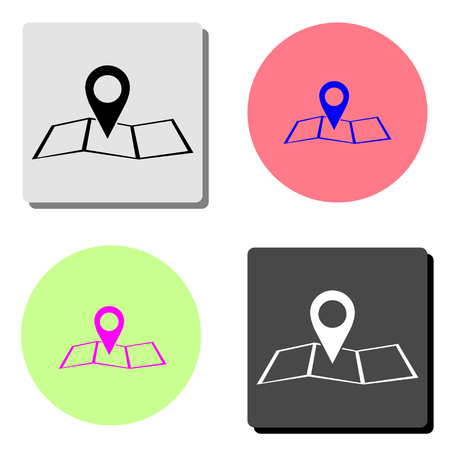 map pointer. simple flat vector icon illustration on four different color backgrounds
