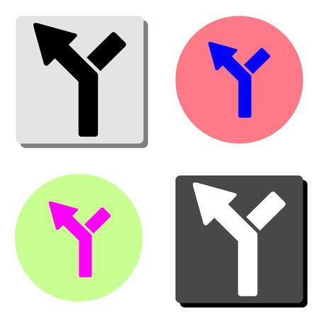 Voies de circulation au carrefour. illustration d'icône vecteur plat simple sur quatre arrière-plans de couleurs différentes