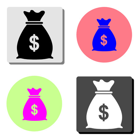 Money Bag. simple flat vector icon illustration on four different color backgrounds Illustration