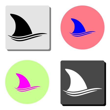 Shark dorsal fin. simple flat vector icon illustration on four different color backgrounds Ilustração
