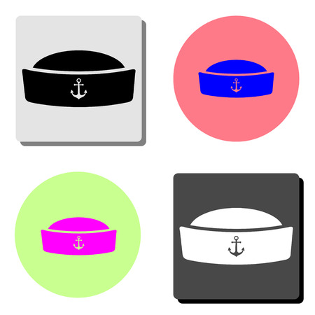 sailor cap. simple flat vector icon illustration on four different color backgrounds