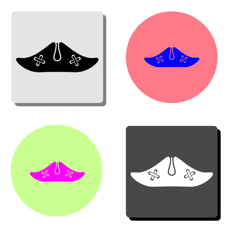 pirate hat. simple flat vector icon illustration on four different color backgrounds