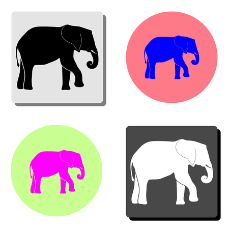 elephant. simple flat vector icon illustration on four different color backgrounds