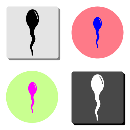 Sperm. simple flat vector icon illustration on four different color backgrounds