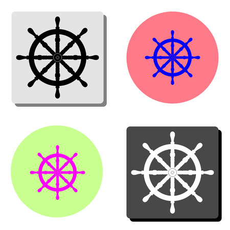 Ship steering wheel. simple flat vector icon illustration on four different color backgrounds Illustration
