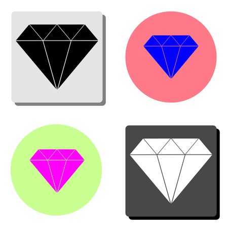 diamond. simple flat vector icon illustration on four different color backgrounds