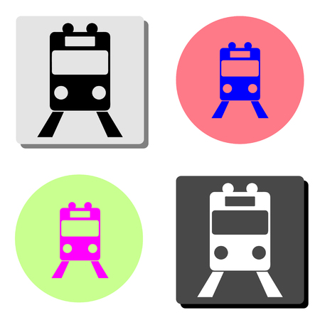 Train. simple flat vector icon illustration on four different color backgrounds