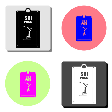ski pass. simple flat vector icon illustration on four different color backgrounds