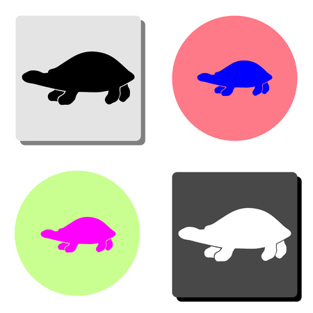 sea turtle. simple flat vector icon illustration on four different color backgrounds