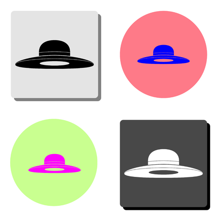 Woman hat. simple flat vector icon illustration on four different color backgrounds