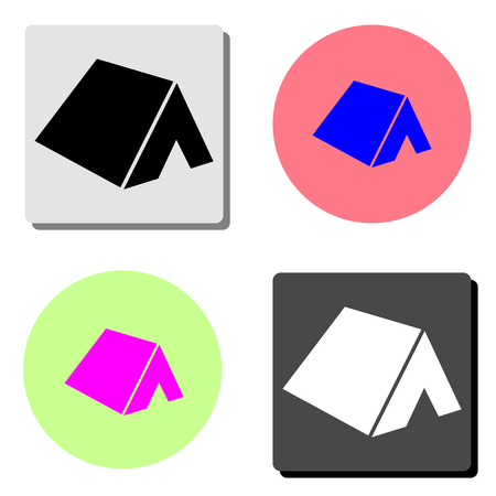 Tent. simple flat vector icon illustration on four different color backgrounds Illustration