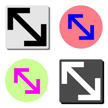 Expand Arrow. simple flat vector icon illustration on four different color backgrounds