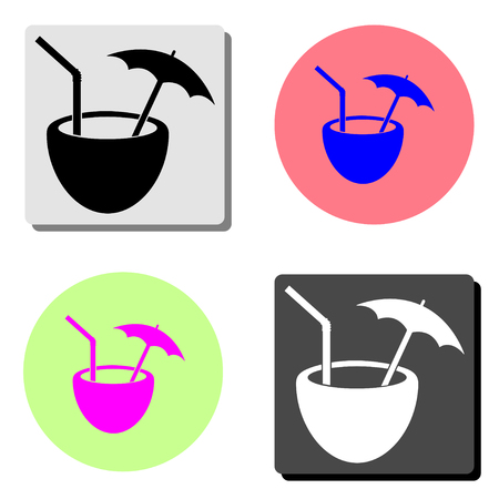 Coconut coctail. simple flat vector icon illustration on four different color backgrounds