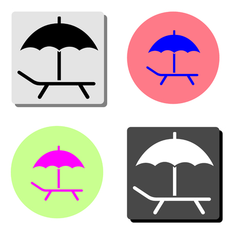 beach chair. simple flat vector icon illustration on four different color backgrounds Ilustración de vector