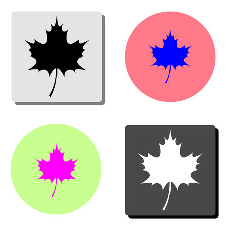 Canadian maple leaf. simple flat vector icon illustration on four different color backgrounds
