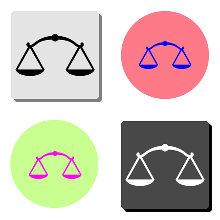 Scales of Justice. simple flat vector icon illustration on four different color backgrounds