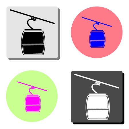 Ski cable lift. simple flat vector icon illustration on four different color backgrounds