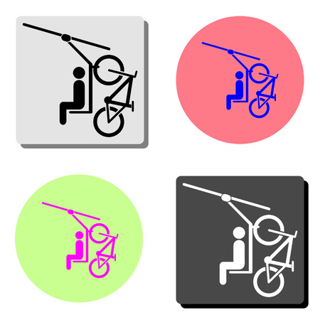 Cable car. simple flat vector icon illustration on four different color backgrounds