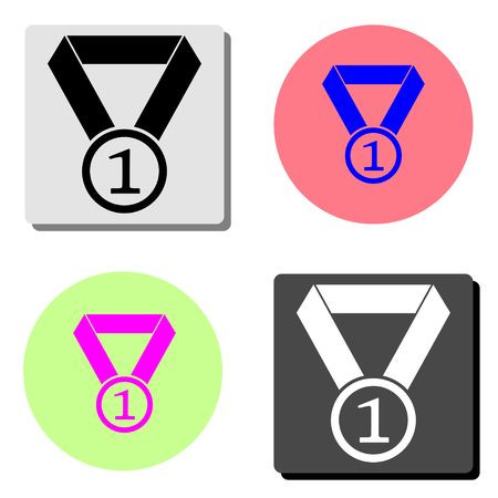 Medal. simple flat vector icon illustration on four different color backgrounds Vectores
