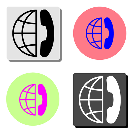 international call. simple flat vector icon illustration on four different color backgrounds