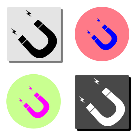 magnet. simple flat vector icon illustration on four different color backgrounds