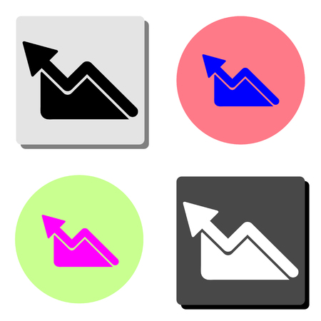 Graph. simple flat vector icon illustration on four different color backgrounds