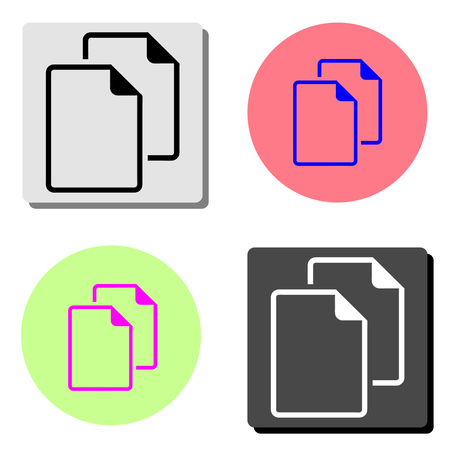 document. simple flat vector icon illustration on four different color backgrounds  イラスト・ベクター素材