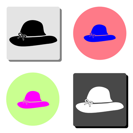 women hats. simple flat vector icon illustration on four different color backgrounds Ilustracja