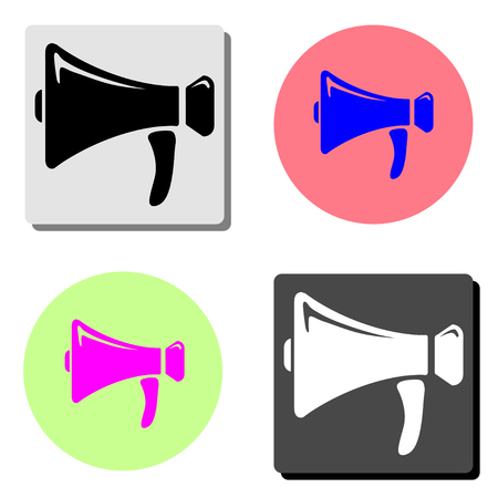 loudspeaker. simple flat vector icon illustration on four different color backgrounds