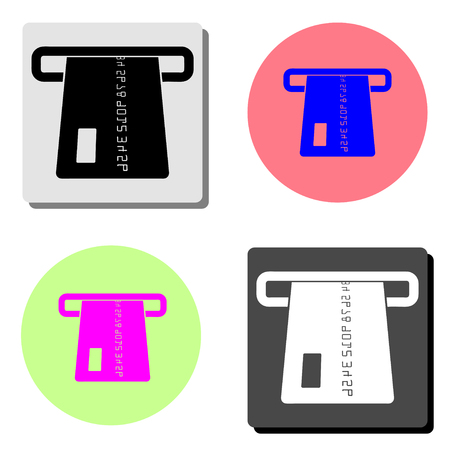 atm card slot. simple flat vector icon illustration on four different color backgrounds