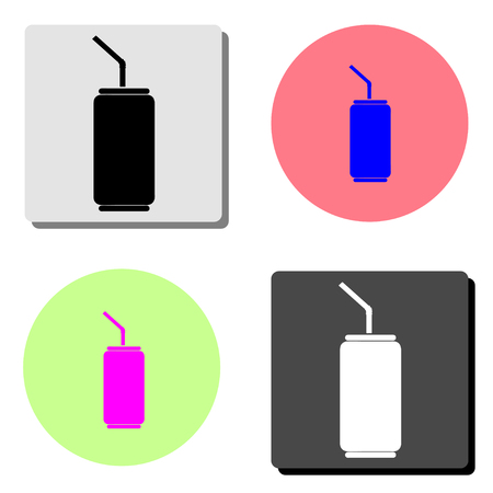 Soda can. simple flat vector icon illustration on four different color backgrounds  イラスト・ベクター素材