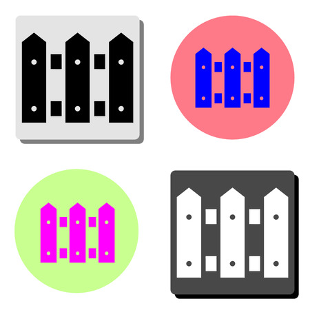 Fence. simple flat vector icon illustration on four different color backgrounds  イラスト・ベクター素材