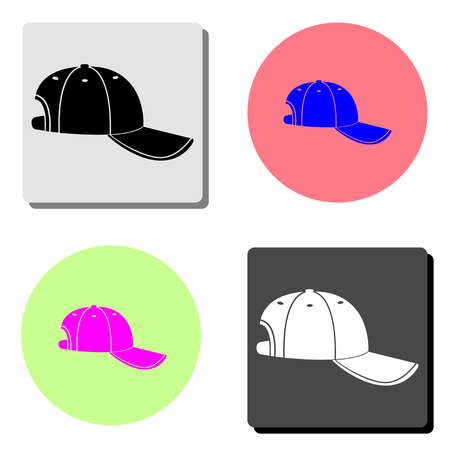 Baseball cap. simple flat vector icon illustration on four different color backgrounds