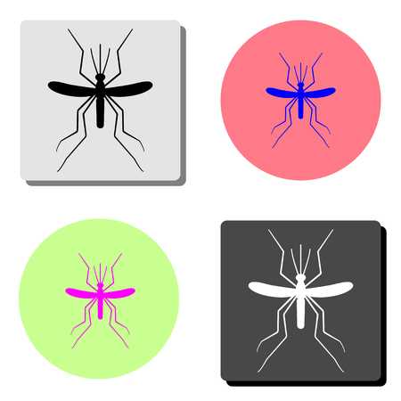 Mosquito. simple flat vector icon illustration on four different color backgrounds
