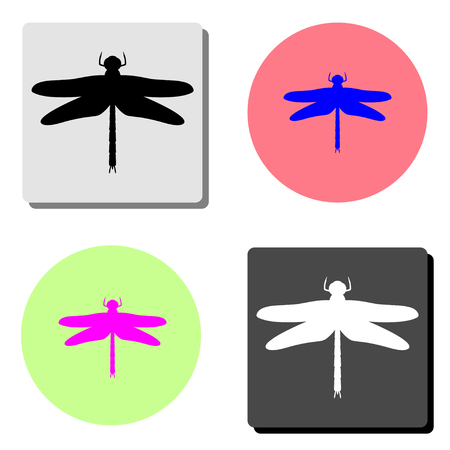 dragonfly. simple flat vector icon illustration on four different color backgrounds