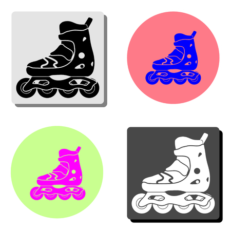 roller skate. simple flat vector icon illustration on four different color backgrounds  イラスト・ベクター素材