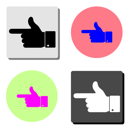 hand pointer. simple flat vector icon illustration on four different color backgrounds