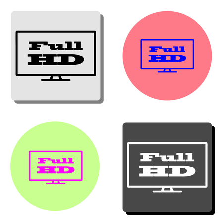 Full hd widescreen tv. simple flat vector icon illustration on four different color backgrounds  イラスト・ベクター素材