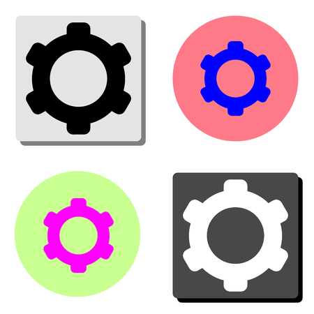 gear. simple flat vector icon illustration on four different color backgrounds  イラスト・ベクター素材