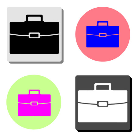 briefcase. simple flat vector icon illustration on four different color backgrounds