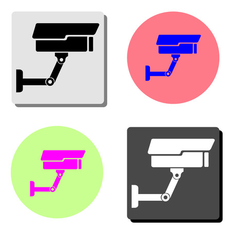 CCTV. simple flat vector icon illustration on four different color backgrounds  イラスト・ベクター素材