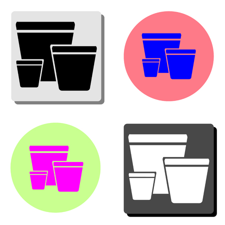 garden pots. simple flat vector icon illustration on four different color backgrounds