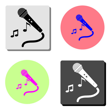 microphone audio music. simple flat vector icon illustration on four different color backgrounds