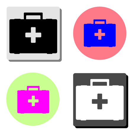 first aid box. simple flat vector icon illustration on four different color backgrounds  イラスト・ベクター素材